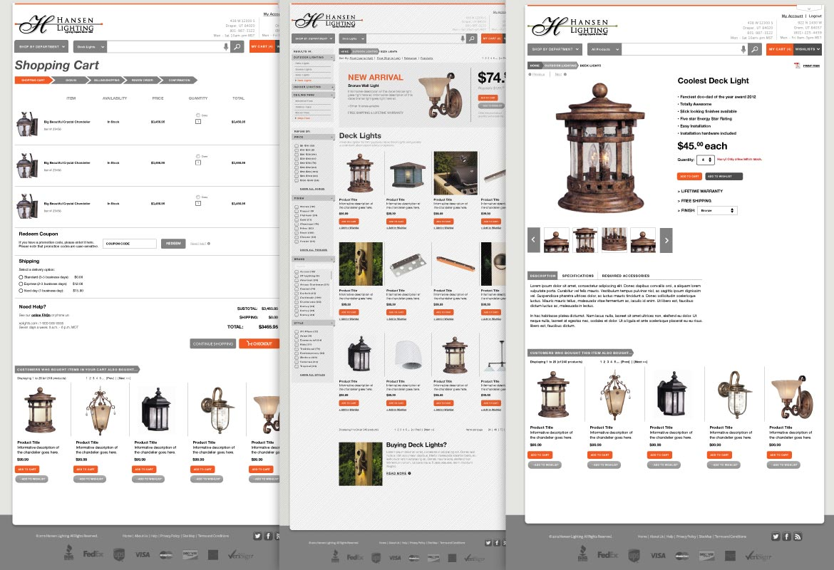 Hansen Lighting eCommerce design