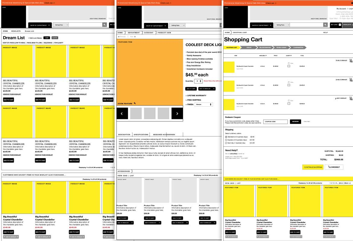 Hansen Lighting wireframes